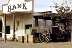 Rustic Bank. Old western style bank building from long ago Royalty Free Stock Photo