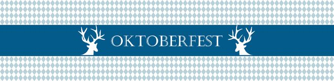 Rustic banner for Oktoberfest. Traditional white and blue rhombus pattern. Vector banner. Stock Images