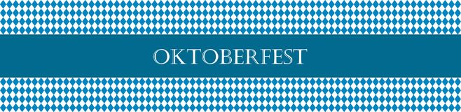 Rustic banner for Oktoberfest. Traditional white and blue rhombus pattern. Vector banner. Stock Photography