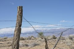 Rustic barbed wire fence Stock Photo