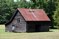 Rustic barn with corrugated roof Stock Photo