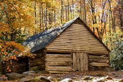 Rustic Barn in the mountains. Rustic barn nestled deep in the Smokey mountain in autumn Stock Image
