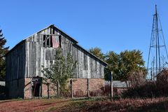Rustic Barn With American Flag stock image