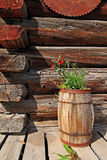Rustic barrel garden. Rustic image of flowers in wooden barrel on deck of log building Royalty Free Stock Images