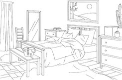 Rustic Bedroom Outline Vector Illustration. For many purpose such as architecture and interior magazine, blog, website, coloring book, print on paper, canvas Royalty Free Illustration