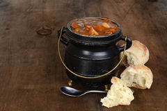Rustic beef stew with fresh bread Stock Photos