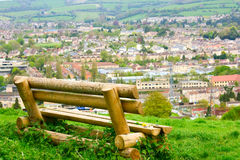A rustic bench overlooking Bath Royalty Free Stock Image