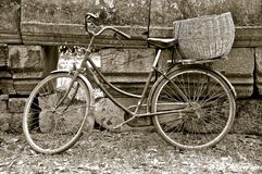 Rustic bike with basket stock photos