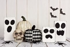 Rustic black and white Halloween decor Royalty Free Stock Photos