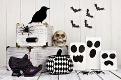 Rustic black and white Halloween decor Royalty Free Stock Photo