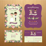 Rustic blossom flowers cartoon couple wedding invitation card &. RSVP set on wood background Stock Image