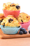 Rustic blueberry muffins. For a wholesome snack, vertical composition Stock Photos