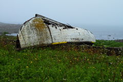 Rustic boat. Old ruined boat on the shore in misty weather Royalty Free Stock Photo