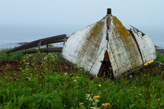 Rustic boat. Old ruined boat on the shore in misty weather Stock Photos