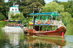 Rustic boat in Sofievka Park Royalty Free Stock Images