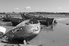 Rustic boats on a ship graveyards Royalty Free Stock Photos