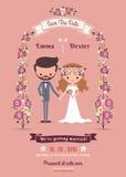 Rustic bohemian cartoon couple wedding card Stock Photos