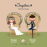 Rustic bohemian cartoon couple wedding invitation card. Sitting in chair Royalty Free Stock Image