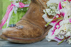 Free Rustic Boot, Rings And Flowers With Vintage Texture Royalty Free Stock Image - 55419346