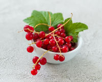 Rustic bowl full of red currant berries. Lovely small rustic bowl full of red currant berries, some green leaves attached stock image