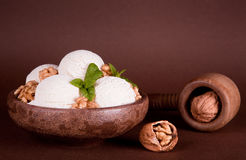 Rustic bowl with ice cream Royalty Free Stock Image