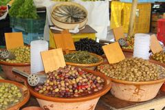 Rustic Bowls With Mediterranean Olives And Tapas, Mallorca Stock Images