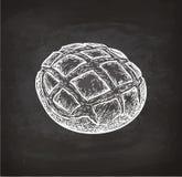 Rustic bread chalk sketch. Chalk sketch of rustic bread on blackboard background. Hand drawn vector illustration. Retro style royalty free illustration