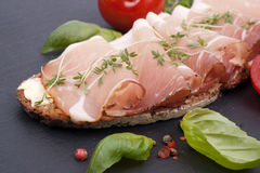 Rustic bread with cured ham Royalty Free Stock Photos