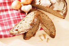 Rustic bread with garlic and onions from top Stock Images