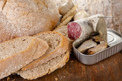 Rustic bread lunch Stock Images