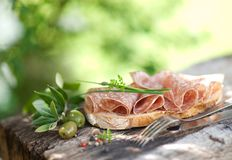 Rustic bread with salami Royalty Free Stock Photos