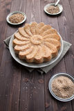 Rustic bread with sesame seeds Stock Photos