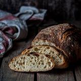 Rustic Bread. Sliced Round No Knead Rustic Bread, square stock photography