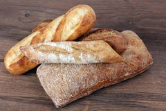Rustic bread. Some kind of rustic bread at market place stock photo