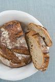 Rustic bread. Rustic sourdough bread in basket Royalty Free Stock Photos