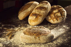 Rustic bread and wheat on black table with flour on it Royalty Free Stock Photography