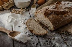 Rustic bread wheat-rye. Tasty and crispy, homemade stock photos