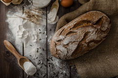 Rustic bread wheat-rye Royalty Free Stock Photo