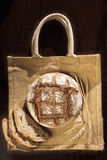 Rustic bread and wheat on a traditional cloth bag Royalty Free Stock Photography