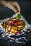 Rustic Breakfast food pancakes river leaf stock photography