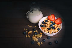 Rustic Breakfast with muesli and berries Stock Photo