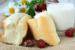 Rustic breakfast, white bread, milk royalty free stock photos
