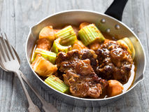 Rustic british oxtail stew. Close up of rustic british oxtail stew Stock Photo