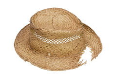 Rustic broken hat made of straw Royalty Free Stock Images