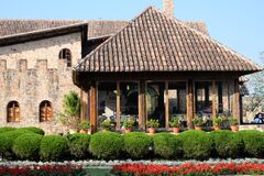 Rustic building with conservatory