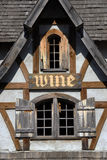 Rustic Building with Wine Sign Stock Photo