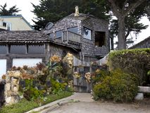 Rustic bungalow at the ocean front Royalty Free Stock Image