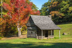 Rustic cabin, autumn colors, blue ridge parkway stock photos