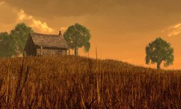 Cabin and Field Under Red Skies stock illustration