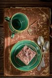 Rustic cake and coffee on desk writer Stock Photos